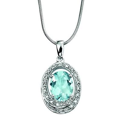 14Kt Or 1.5 Ct véritable Aigue-Marine /& Diamant Trillion Collier Pendentif