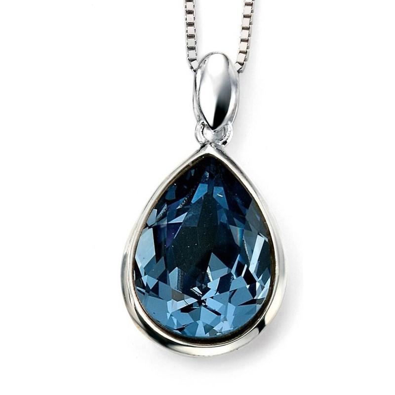 Collier en cristal de Swarovski® bleu et plaqué rhodium en argent 925/1000
