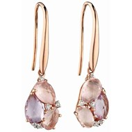Boucle d'oreille rose de France et quartz rose en Or 375/1000