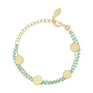 Bracelet COLLECTION CONSTANCE OLYMPE Email turquoise plaqué or