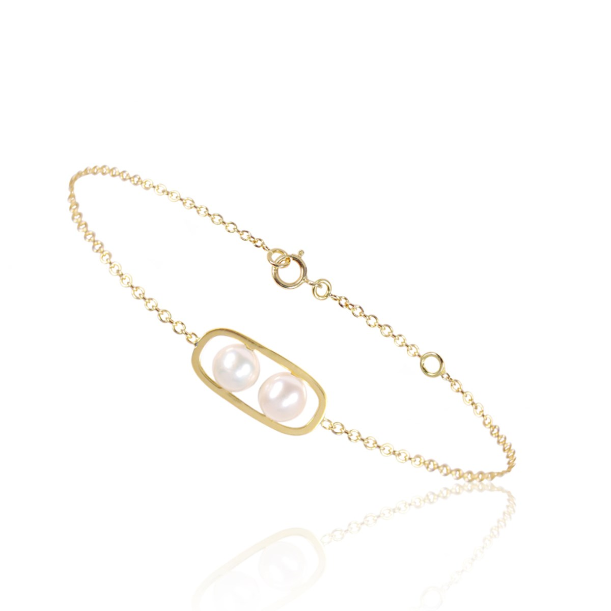 Bracelet chaine en or et 2 perles blanches - Be Jewels!