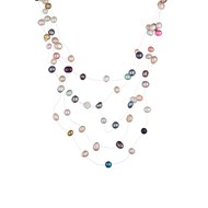Collier argent, perles multicolores 'Colors'