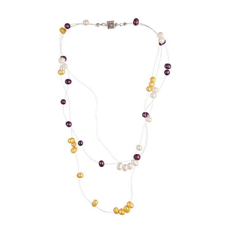 Collier argent, perles de culture multicolore 'Iris'
