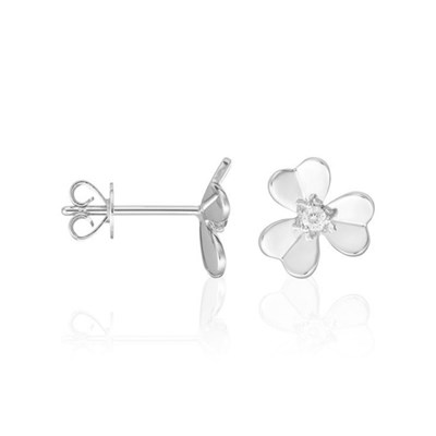 Boucles d'oreilles Or Blanc 'DÉLICATE ATTENTION' Diamants 0,03 carat - vue V1