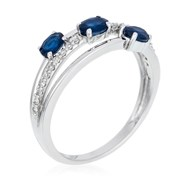 Bague Or Blanc 375 'TRIO DE SAPHIR' Saphirs 0,69 carat et Diamants 0,09 carat