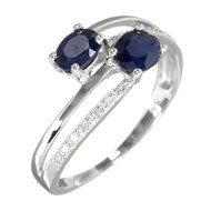 Bague Or Blanc 375 'DUO ETERNEL' Diamants 0,06 carat et Saphirs 1,14 carat