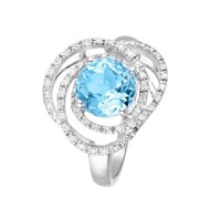 Bague Or Blanc 'MISSISSIPPI' Diamants 0,18 carat et Topaze 2,25 carat