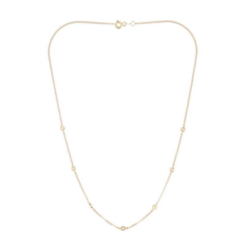 Collier Or Jaune et Diamants 0,22 carat 'SUNSHINE' - vue V3