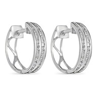 Boucles d'oreilles Or Blanc et Diamants 0,25 carat '2 RANGS D'AMOUR'