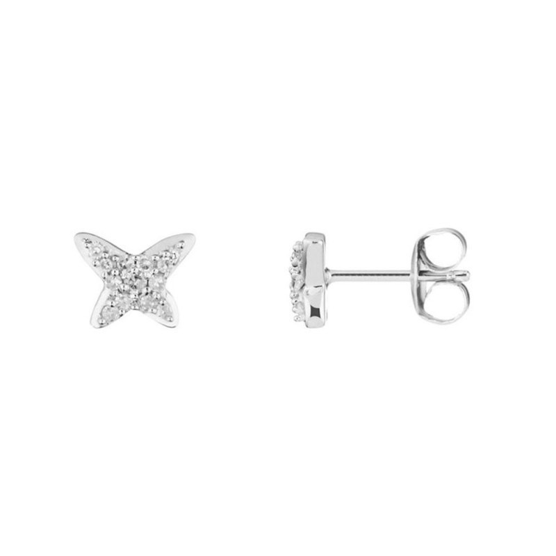 Boucles d'oreilles Or Blanc 'PAP'S' Diamants 0,1 carat - vue V1