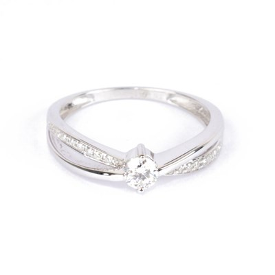 Solitaire Or Blanc 375 'JOLI' Diamants 0,27 carat - vue V1