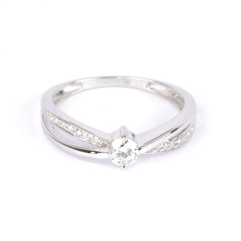 Solitaire Or Blanc 375 'JOLI' Diamants 0,27 carat - vue 1