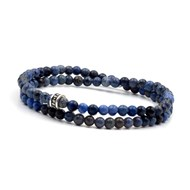 Bracelet 2 tours deep blue 4 mm