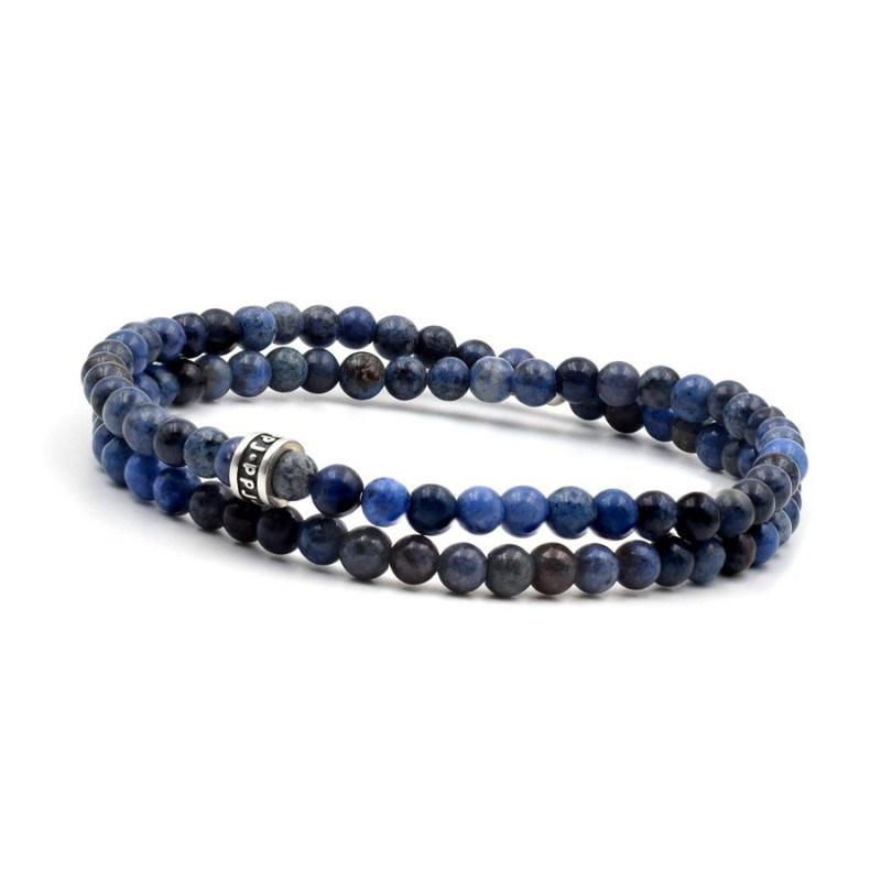 Bracelet 2 tours deep blue 4 mm - vue V1