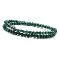Bracelet 2 tours malachite 4 mm