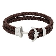 Bracelet Homme double tour cuir marron 'ANCHOR'