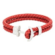Bracelet Homme double tour cuir rouge 'ANCHOR'
