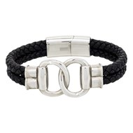 Bracelet Homme double tour cuir noir 'FIT TOGETHER'