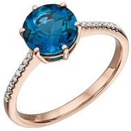 Bague topaze bleue en or 375/1000