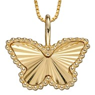 Collier papillon sur or jaune 375/1000