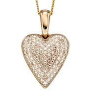 Collier coeur de diamant sur or jaune 375/1000