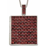 Collier photo cristal bordeaux en argent 925/1000