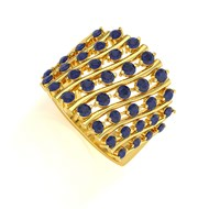 Bague ADEN Or 585 14K Jaune Saphir