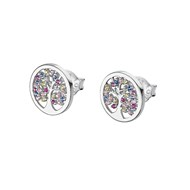 Boucles d'oreilles Lotus Silver Collection Family Tree Arbre de vie multicolore
