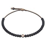 Collier Coeur de Lion perles onyx acier rose collection Brilliant Coeur