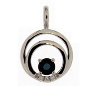 Pendentif Brillaxis double cercle saphir diamants