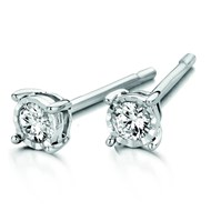 Boucles d'oreilles clous diamants or blanc 18 carats