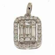 Pendentif rectangulaire or blanc diamants