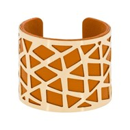 Bracelet manchette 'PEKIN' finition dorée simili cuir orange