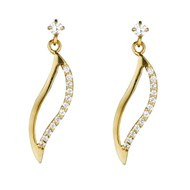 Boucles d'oreilles or jaune et oxydes de zirconium 'Vague de Tendresse'