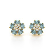 Boucles d'oreilles ADEN Or 585 Jaune Aigue-Marine Fleur et Diamants 2.86grs
