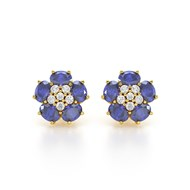 Boucles d'oreilles ADEN Or 585 Jaune Tanzanite Fleur et Diamants 2.86grs