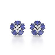 Boucles d'oreilles ADEN Or 585 Blanc Tanzanite Fleur et Diamants 2.86grs